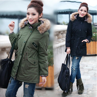 Plus size wadded jacket 2013 women's thickening medium-long cotton-padded jacket women's large fur collar cotton-padded jacket