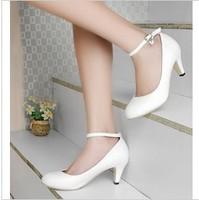 Fashion Spring Autumn Women Pumps 6cm Nurse Shoes Women Dance Shoes Big Size 41 42 43