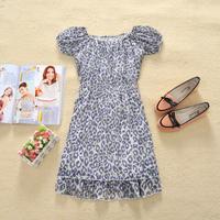 Price of the cabbage Women summer fashion purple leopard print o-neck slim waist chiffon one-piece dress cz16