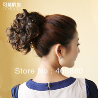 Best selling! Fashion women's fluffy short roll buckle Ponytails hair extension piece Free shipping