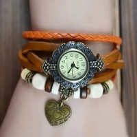 W48 2013 New Wholesale Vintage 6 Colors Alloy Heart Hot Selling Leather Women Quartz Bracelet Watch