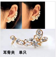 2015 Korean butterfly ear cuffs on earring flash drilling soft cushions U-shaped ear buckle no pierced earrings ear clip LM-C244