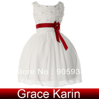 Free Shipping GK Kids White Flower Girl Princess Bridesmaid Wedding Pageant Party Gown Dress 10 Size 2~12 Years CL4609