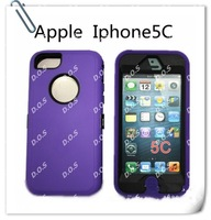 High Quality Robot Hybrid Plastic Silicone Hard Case Cover For iPhone 5C With Bulit In Screen
