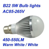 2pcs AC85-265V E27/ B22/GU10 5W 450-550LM White/ Warm White Bulb Light,Led Globe Lamp,Wholesale,Dropshipping
