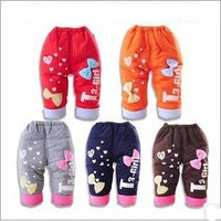 3pcs/lot 2013 baby boys and girls winter thicking cotton-padded pants cute bow and letter printed trousers 1015