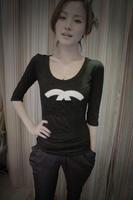 Free Shipping Women's Modal Half Sleeve T-shirt Shirts Tops White Black Top Quality