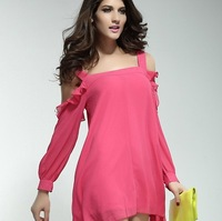 Hot selling 2013 autumn winter women's dress strap off shoulder Loose chiffon pink dress free shipping