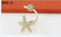 Korean u-ear clip boutique fashion refinement mini joker lady style flash drilling starfish no pierced  clip ear cuff  LM-C160