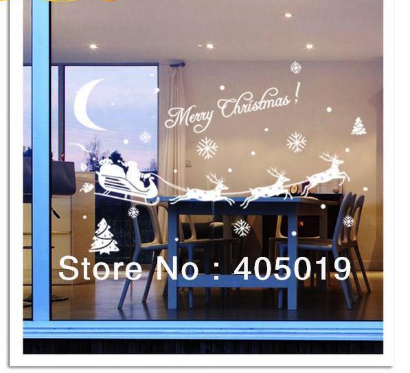 "28""x17"" (70*43 cm) Original Zooyoo Xmas3 Merry Christmas Window Wall Decals 100% Quality Guaranteed Free Express Color Customize(China (Mainland))"