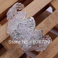 Hot sale JB164 fashion Jewelry 925 sterling silver Bracelet Bangle Cuff fashion bracelet for women Three flower s /anna jeua