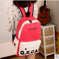 Color block letter backpack the trend of preppy style casual canvas bag student bag female bags