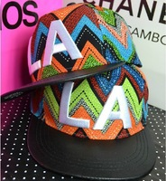 2013 New Arrival Fashion Snapback Dazzle colour Bohemia color Stripe Leather Flat brim Cap Hip-hop Hat L.A Letters Baseball caps