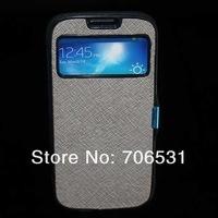 1Pcs Silicon Back Cover Folio Style Magnet Leather Case for Samsung Galaxy SIV I9500 With View Window