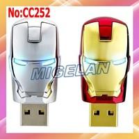 2014 hot sale Wholesale Plastic + Metal Iron Man USB Flash Memory Pen Drive Stick Drives Sticks Pendrives  Free shipping #CC252