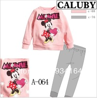 2013 NEW Brand Sleeping Wear Children Clothing Set Long Sleeve Cartoon Minnie Printed T shirt+Pants Girl and Boy Suit Autumn