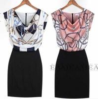 2013 summer fashion slim hip slim faux two piece vintage casual one-piece dress 3039