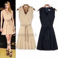 Fashion women's 2013 fashion slim pleated chiffon skirt chiffon one-piece dress slim waist 3058
