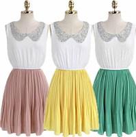 2013 women's fashion vintage beaded pleated sleeveless chiffon tank dress one-piece dress 6062