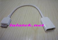 White OTG Micro USB Host Adapter Cable For Samsung Galaxy Note 3 N9000 N9005 Free Shipping