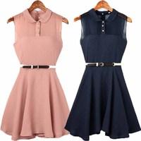 2013 women's chiffon patchwork fashion slim turn-down collar sleeveless one-piece dress belt 6032