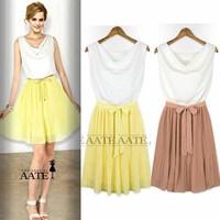 2013 women's fashion slim waist color block pleated decoration sleeveless one-piece dress 6025