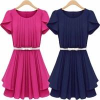 2013 summer women's vintage pleated fashion slim waist butterfly sleeve one-piece dress 6098