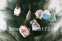 New 216pcs/lotsSanta Claus,snowman small thank you card Christmas tree ornaments  for Christmas CARDS freeshipping