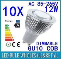 10x Free shipping Dimmable 12W GU10 E27 MR16 E14 B22 COB LED lamp light bulb led Spotlight White/Warm white led lighting