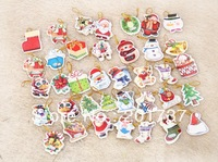 20pcs/lots Santa Claus, snowman small thank you card Christmas tree ornaments fashion wish card for Christmas CARDS