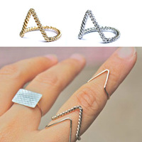 Free Shipping Urban Stack Twisted Arrow Deep V Finger Ring Band Ring Punk Spike Gothic Gold/Silver Chevron Above Finger Rings