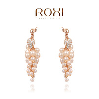 ROXI Christmas grapes pearl Earrings,rose gold plated Austrian crystals 100% handmade fashion jewelry,2020043780