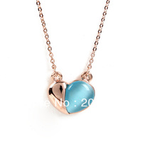 Fashion Real Gold Plated Light Cat Eye Stone Heart Necklace