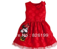 New Cotton Minnie Cartoon dresses for summer Children Clothing girl's dresses NEW Year clothing ,red,free shipping