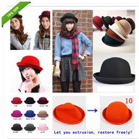 Fashion Womens Lady Retro Trendy Wool Bowler Derby Top Hat Cap Cloche Mens Hat