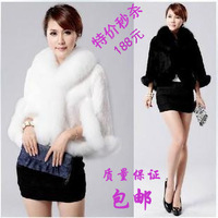 2013 rabbit fur fox fur rabbit hair fur cloak cape fur coat female