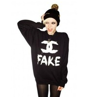 Free Shipping Woman New Fashion Black Colors Letters Print Sweater Pullover Full Sleeve Long Casual Hoodies Sweatshirts Tops