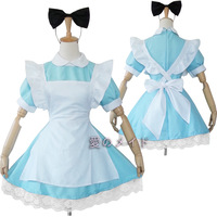 Free Shipping Cosplay maid water blue maid service anime cos clothes costume