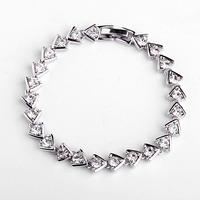 Italina Simple graceful design women jewelry/shining zircon 18k platinum plated triangle Bracelet WL0518