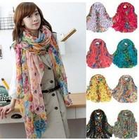 Drop Shipping female models Winter Garden Floral scarves infinity silk scarf shawl women brand scarf beach towel B0065