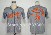 high quality,free shipping,baseball shirt  Orioles #5 Brooks Robinson gray/orange men's stitched baseball jersey