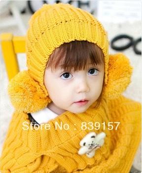 (1pc) kids hats&caps Animal bear Cotton children earmuff hat baby cap for winter Free shipping