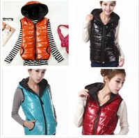 winter  2013  Women's shiny vest fashionable casual with a hood thickening cotton vest  plus size clothing