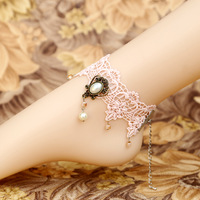 Diy lace anklet princess pink is anklets crystal vintage popular fashion Women