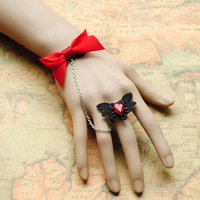 Diy fashion vintage bow black lace female bracelet crystal accessories female wristband wristiest
