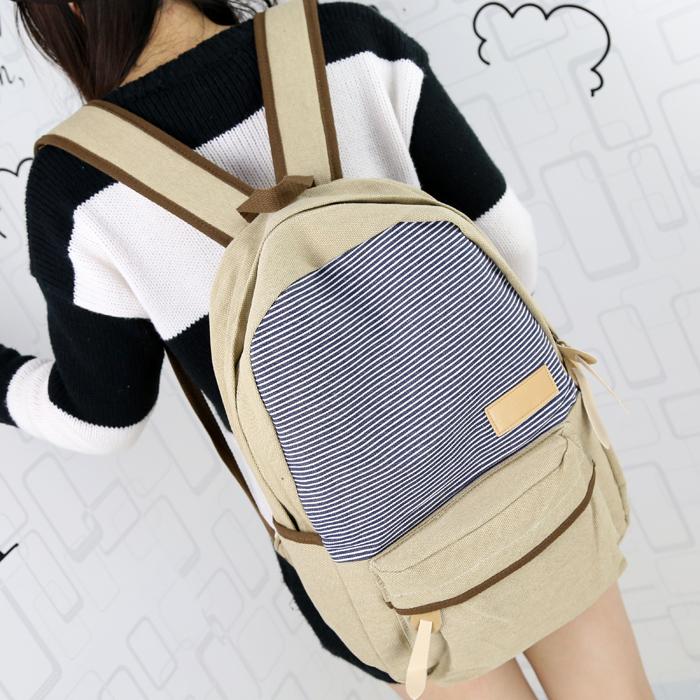 2013 girls Martin stripe canvas cute backpack college school book bag ...