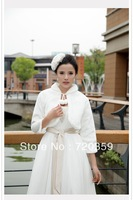 Free shipping!artificial wool long Sleeves Bridal white Jacket / Wedding Wrap / Bolero Jacket