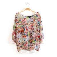 2013 summer new printing sleeve pullover shirt blouse summer bershka synchronization models