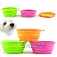 wholesale 100pieces / lot Design environmental protection silicone folding pet bowl cat go out essential portable pet bowl