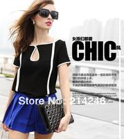 Free shipping high quality tops fashion super star fan retro style  chiffon unlined upper garment short-sleeved T